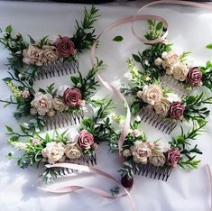 Hair comb rose taupe and cream greenery headpiece mauve Hair And Makeup Tips, Wedding Hair And Makeup, Bridal Comb, Bridal Hair, Floral Wedding, Wedding Flowers, Bridesmaid Outfit, Wedding Decorations, Wedding Ideas