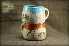 Ceramic set with Bicycle Ceramic mug Pottery teacup 10 Oz