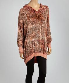 Another great find on #zulily! Peach & Brown Paisley Hooded Pullover #zulilyfinds