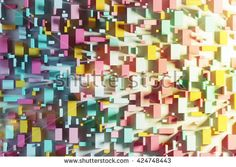 Abstract background made of colored boxes. Concept of city top view. Copy space. 3d rendering. Toned image