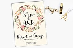 Floral Wedding Invitation Printable Wedding by MondayDreamsShop