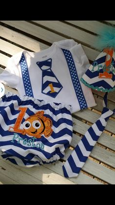 finding Nemo boys first birthday cake smash outfit by bdaysmash, $45.00