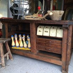 Beautiful huge vintage industrial workbench. This will make an amazing kitchen island or sideboard.
