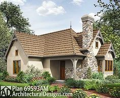 2 Bed Tiny Cottage House Plan - 69593AM | Cottage, European, Narrow Lot, 1st Floor Master Suite, CAD Available, PDF | Architectural Designs