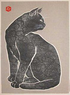 Hasegawa Sadanobu IV (Japan, 1914-1999) - Black Cat (c. 1960-80) - Woodblock print