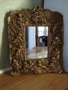 Vintage 1980s Mirror Angels Cherubs 2012681 by bycinbyhand on Etsy, $30.00 #bycinbyhand #cinsfreshpicked #WallHanging  #vanity  #mirror  #deco  #artnouveau  #regency  #vanitymirror  #1980s  #Reproduction #Rococo  #Cherubs  #Angels #shabbychic #cottagechic