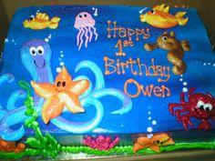 Under The Sea Themed sheet Cakes   1st birthday cake we had an under the sea themed party img