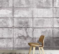 Tapet - Concrete Bocks 395 x 270 cm Wishbone Chair, Concrete, Wallpaper, Furniture, Home Decor, Decoration Home, Room Decor, Wallpapers, Home Furnishings