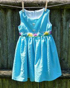 Size 3 Caribbean Blue Seersucker Sundress by LittleSparkleGirl, $24.00