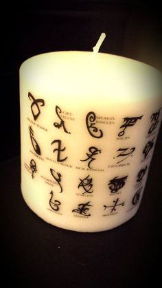The Mortal Instruments Runes Candle by HeathersCandles on Etsy, $10.00