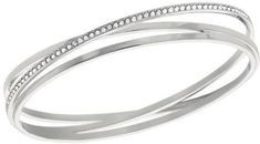 Swarovski Spiral Bangle M - 5071171. Rhodium-plated bangle and embellished with clear crystal pave. Genuine Swarovski Branded Jewelry. pproximate size: 2 1/2 x 2 1/8 inches.