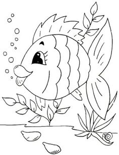 Coloring Pages For Kids Online Fish Template Printable In Plans Free