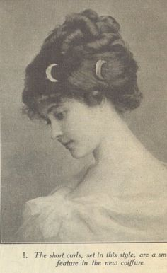 "From The People's Home Journal of 1910. The article which accompanied the photos noted that coronets of braids were back in fashion, as were ""high Josephine curls"" a la' the French Empire (English Regency)."