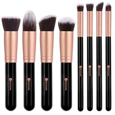 Makeup Brushes BESTOPE Premium Cosmetics Makeup Brushes Set Synthetic Kabuki Makeup Brush, Foundation, Blending Blush, Eyeliner, Face Powder Brush Kit(8PCs, Rose Gold)