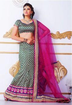 Chanderi Silk Lehenga frpm JabongWorld | 5434B : Online Chanderi Silk Lehenga  from JabongWorld, color: Green, price: US$ 124.00, brand: Vinhem Fashion, item code: 5434B, fabric: Chanderi Silk  @ www.jabongworld.com/navratri-collection/navratri-chaniya-choli.html | richasoni