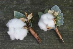 Cotton boutonnieres | Fern Studio