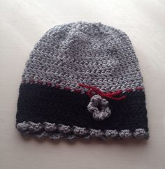 Grey & black cute crocheted hat by LisaSchwimmer on Etsy https://www.etsy.com/listing/260228309/grey-black-cute-crocheted-hat