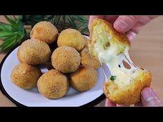 Burgonya sajtgolyók / 5 perc alatt / gyors és egyszerű / finom / ropogós / REGGELI - YouTube Tasty Dishes, Side Dishes, Cooking Dishes, Iftar, Mets, Empanadas, Queso, Mozzarella, Baked Potato