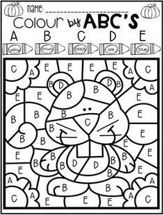 Color by Code ABC's Season Bundle Pre K Worksheets, Letter Worksheets For Preschool, Kindergarten Coloring Pages, Preschool Prep, Preschool Colors, Preschool Curriculum, Alphabet Worksheets, Alphabet Activities, Kindergarten Worksheets