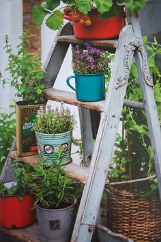 vintage recycled tin planters.