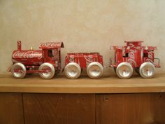 train set made out of coke cans