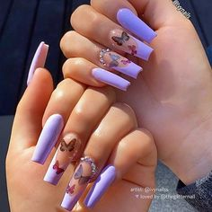 Nails 740279257487755997 - Acrylic nails are always an eternal topic, and Easter nails acrylic spring is one of the hottest topics of the moment. Is Easter ready? Are you ready for a direct nail design? Come explore with me … Source by VOGUESIMPLE Purple Acrylic Nails, Clear Acrylic Nails, Purple Nails, Acrylic Nail Art, Red And White Nails, Square Acrylic Nails, Pastel Purple, Butterfly Nail Designs, Cute Acrylic Nail Designs