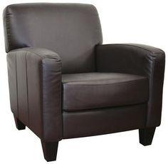 Wholesale Interiors A-150-206 chair Stacie Brown Leather Modern Club Chair - Each