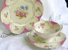 vintage tea cup trio german porcelain pink and blue flowers with pink and gold trim