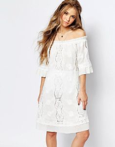Pin for Later: 35 Breezy Boho Dresses to Get You in the Mood For Festival Season  Navy London Off Shoulder Lace Dress (£65)