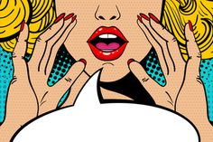 Sexy surprised blonde pop art woman with open mouth and rising hands screaming announcement. Vector background in comic retro pop art style. - Comprar este vetor do stock e explorar vetores semelhantes no Adobe Stock Bd Pop Art, Pop Art Face, Pop Art Girl, Pop Art Vintage, Pop Art Women, Pop Art Illustration, Retro Pop, Comic Styles, Art Images
