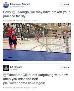Edmonton Oilers and Los Angeles Kings. The LA Kings have the best Twitter account in the NHL.  Hockey tweets. LOL.