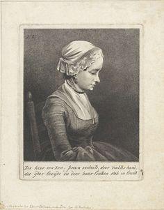 Reinier Vinkeles | Portret van Anna de Jong, Reinier Vinkeles, 1765 - 1816 | Portret van Anna de Jong, dienstmeid in herberg De Zon op de Nieuwendijk te Amsterdam. Daar kwamen veel kunstenaars en kunstliefhebbers. Ook de bijeenkomsten van kunstenaarsvereniging Pax Artium Nutrix, 'Vrede voedt kunst', vonden er plaats.