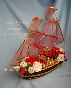 Gallery.ru / Фото #15 - Корабли, лодочки. - alena-vesna Paper Bouquet, Diy Bouquet, Candy Bouquet, Chocolate Crafts, Chocolate Decorations, Wedding Crafts, Diy Wedding Decorations, Candy Crafts, Fun Crafts