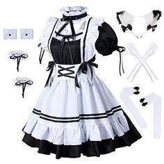 Maid Outfit Cosplay, Maid Outfit Anime, Cosplay Costumes, Anime Maid, Anime Dress, Costume Birthday Parties, French Maid, Maid Dress, Kawaii Fashion