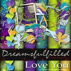Dreamsfulfilled: Love You. Colección de papeles y elementos románticos.