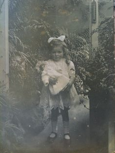 Josette with her doll RPPC by smokey lace, via Flickr