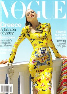 Gemma ward in Roberto Cavalli on the cover of Vogue Australia September 2004