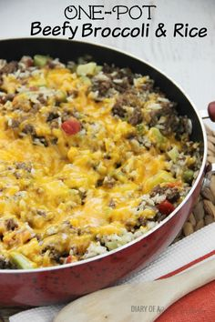 A quick, easy, and hearty one-pot supper filled with ground beef, broccoli, and rice. So how are you enjoying Fall?  We are in full-swing busy school mode down here.  Homework has eased up a bit, b...