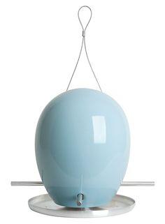 egg bird feeder in blue
