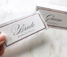 Wedding place cards with rose gold foil and marble print. Calligraphy style name Wedding Reception Decorations, Wedding Table, Wedding Place Names, Name Place Cards, Marble Print, Rose Gold Foil, Personality, Stationery, Place Card Holders