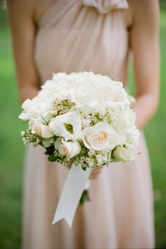 sweet white flowers and blush pink dresses