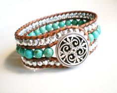 Turquoise Jewelry manchet Armband leder manchet door RopesofPearls