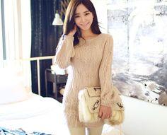 Beige Long Sleeve Knit Mini Dress - CHUU