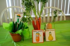 Found a Veggie Tales themed party online. Super cute centerpiece ideas. Fresh produce.