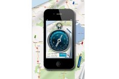 An iPhone compass app uses the phone's accelerometer to tell which direction you are facing.