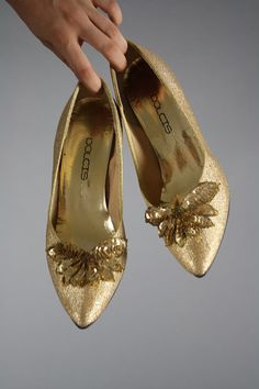 Gorgeous gold heels by Dolcis. Sparkly gold all over with additional gold sequined decoration on the toes. Simply divine! $42