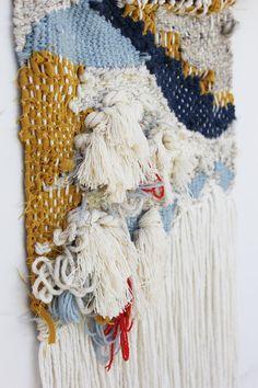 Abstract Navy Yellow Weaving Wall Hanging 2