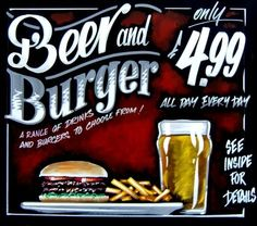 Pub Chalkboards by Adrian Patrick: Chalkboard Menu Beer Burger, Burger Menu, Chalk Menu, Chalk Art, Restaurant Signs, Pub Signs, Wood Signs, Pub Food, Food Menu