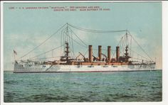 US Armored Cruiser MARYLAND Navy Ship Military Vintage Mitchell Postcard