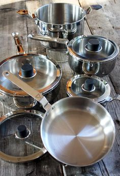 Natural Home's Eazistore Cookware. Design allows each set of pots or pans to nestle inside one another.